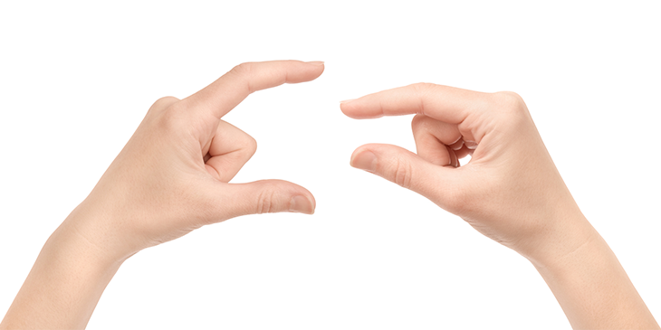 Pair of hands indicating different lengths with their forefinger and thumb