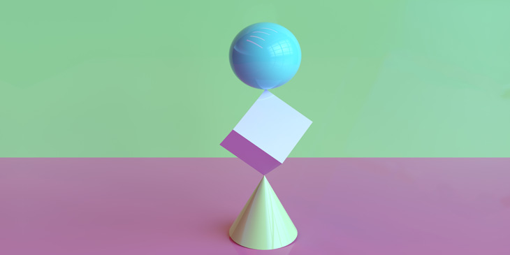 A cone, with a cube balanced on it's top point, with a sphere balanced on top of the cubes top point