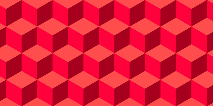 A repeated pattern of red cubes