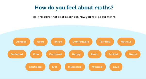 A range of answers to the question How do you feel about maths?