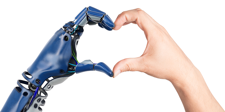 robot hand and human hand foriming a heart shape together