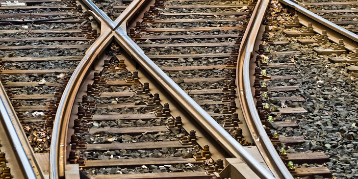 A rail track branching into two directions