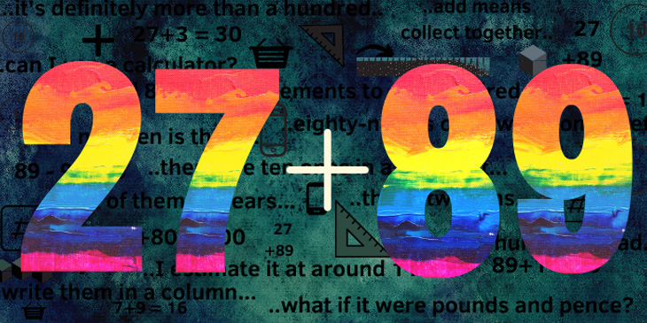 The mathematical sum 27 + 89