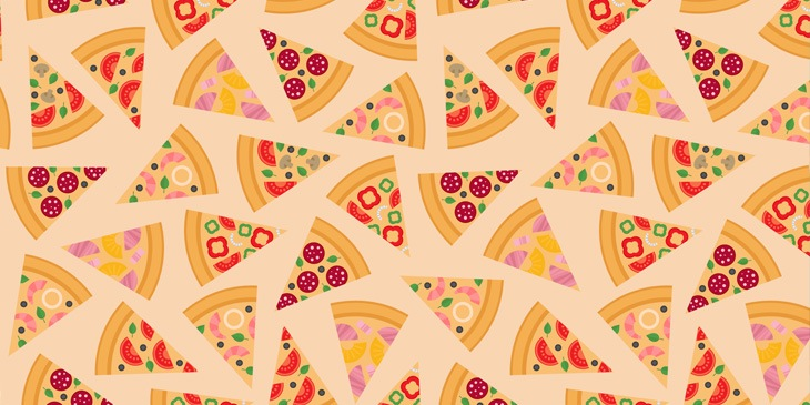 Pizza slices in a pattern