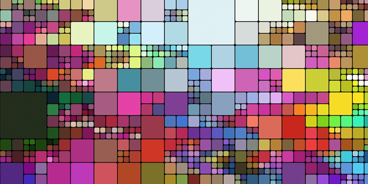 A collage of square shapes in a range of sizes