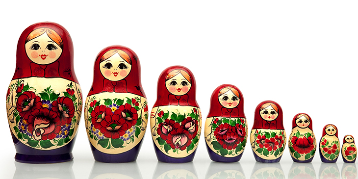 set of eight matryoshka nesting dolls