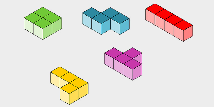 A selection of shapes from the game Tetris
