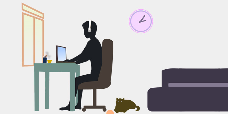 Illustration of a person on their laptop at a desk with cat on the floor next to them